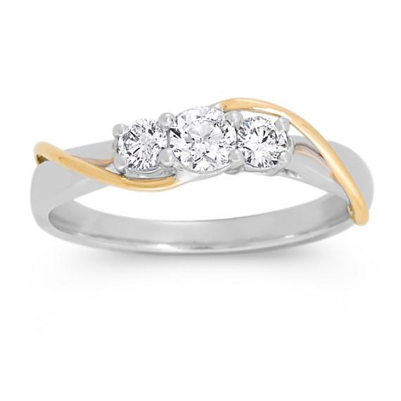 Round Diamond Three-Stone in Two-Tone Gold