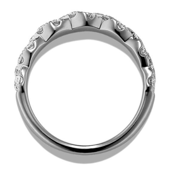 Round Diamond Twist Wedding Band in 14k White Gold image