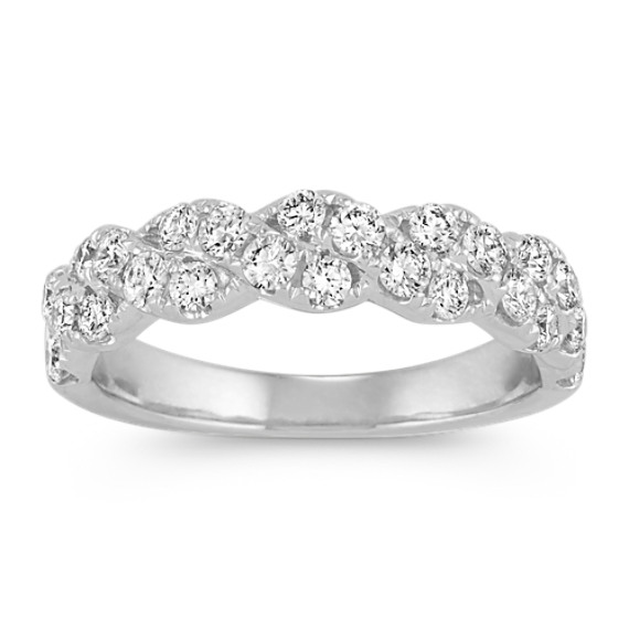 Round Diamond Twist Wedding Band in 14k White Gold