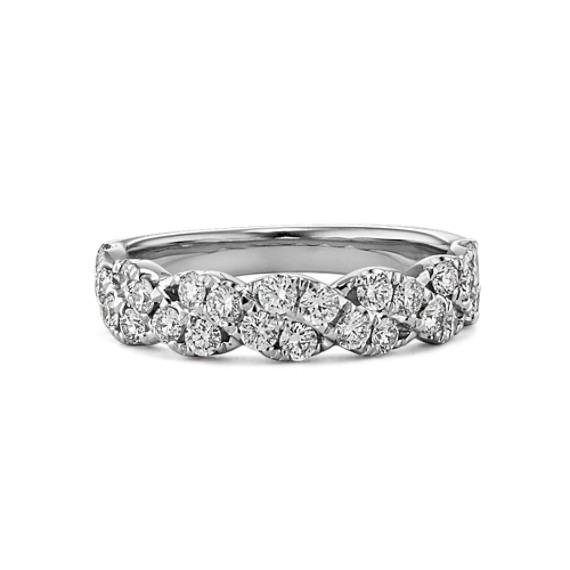 Round Diamond Twist Wedding Band In 14k White Gold Shane Co
