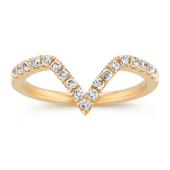 Round Diamond V-Shaped Ring in 14k Yellow Gold