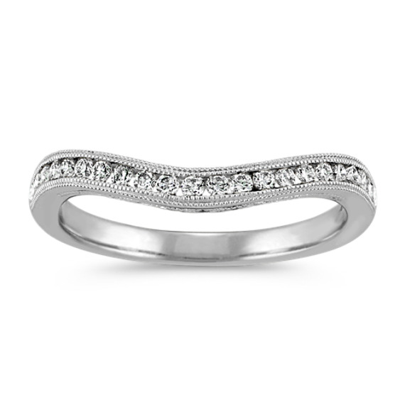 Round Diamond Vintage Contour Wedding Band
