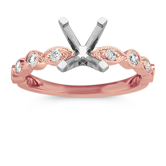 Round Diamond Vintage Engagement Ring in 14k Rose Gold