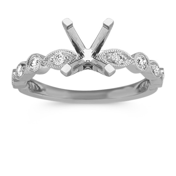 Round Diamond Vintage Engagement Ring in 14k White Gold