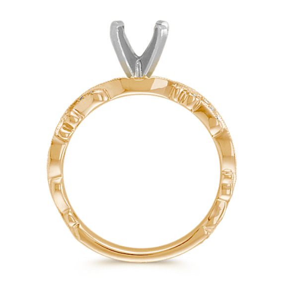 Round Diamond Vintage Engagement Ring in 14k Yellow Gold image