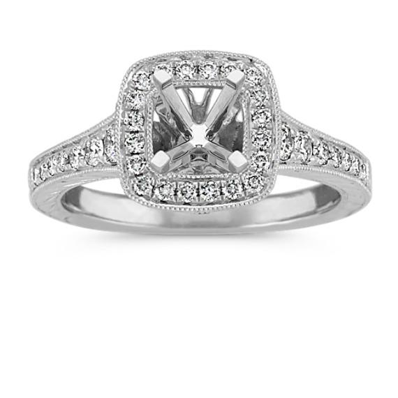 Round Diamond Vintage Halo Engagement Ring