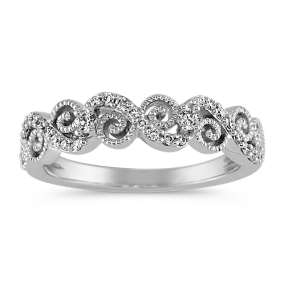 Round Diamond Vintage Swirl Wedding Band with Milgrain Detailing