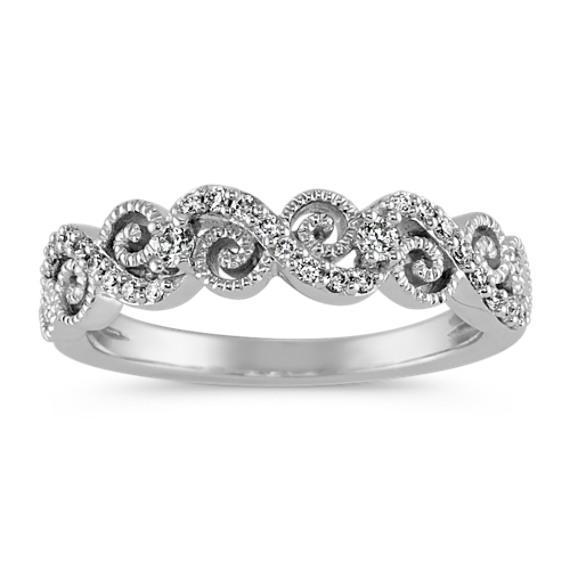 Round Diamond Vintage Swirl Wedding Band With Milgrain Detailing