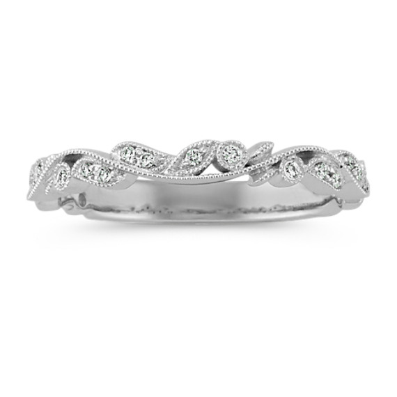 Round Diamond Vintage Wedding Band in 14k White Gold
