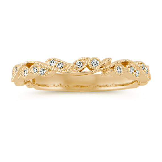 Round Diamond Vintage Wedding Band in 14k Yellow Gold