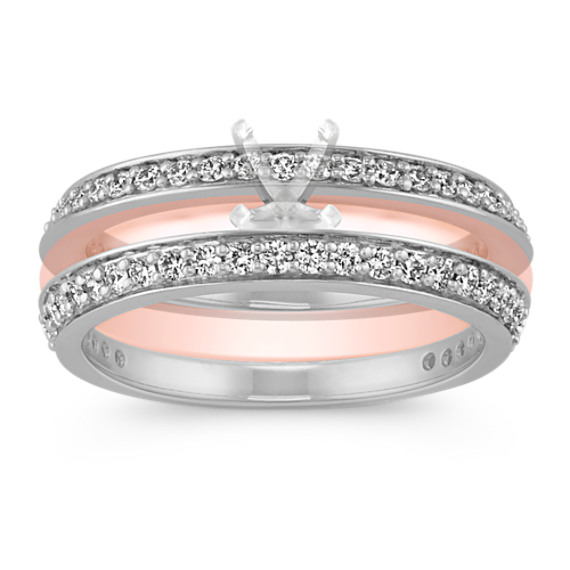 Round Diamond Wedding Band Set