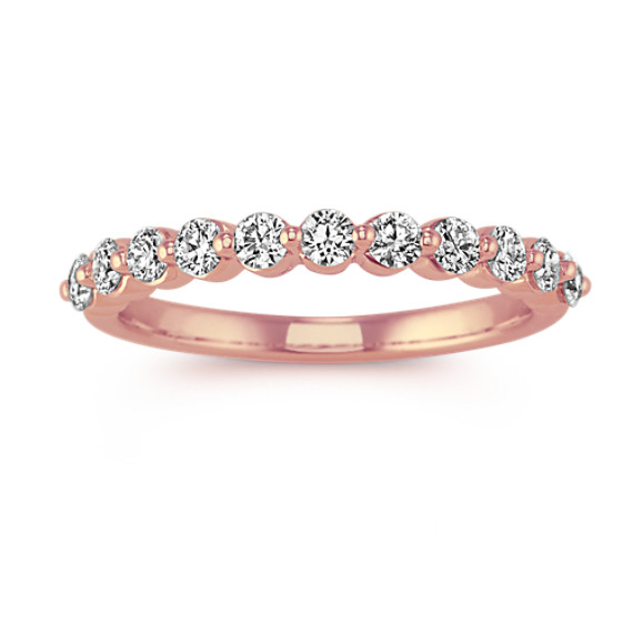 Round Diamond Wedding Band in 14k Rose Gold