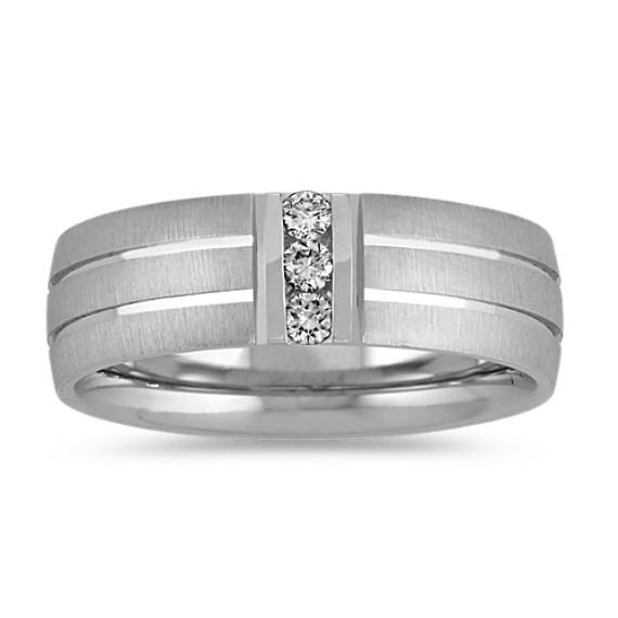 Round Diamond Wedding Band in 14k White Gold (7mm)