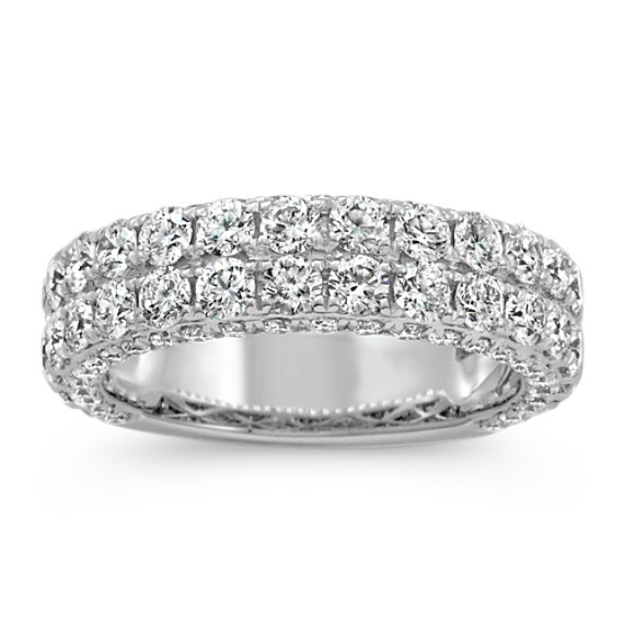 Round Diamond Wedding Band in 14k White Gold with Pave Setting