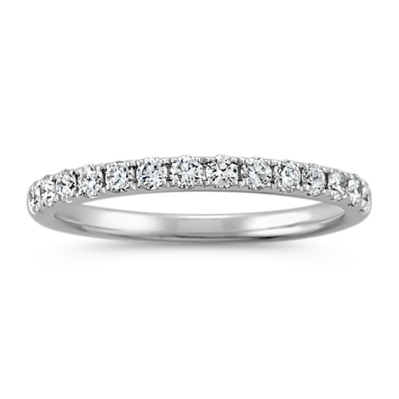 Pavé-Set Diamond Wedding Band in 14k White Gold