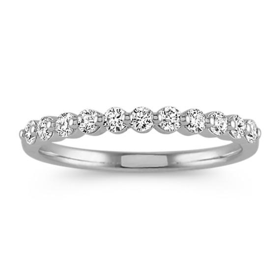 Round Diamond Wedding Band in 14k White Gold