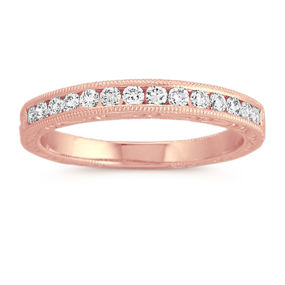 Round Diamond Wedding Band in Rose Gold with Channel-Setting