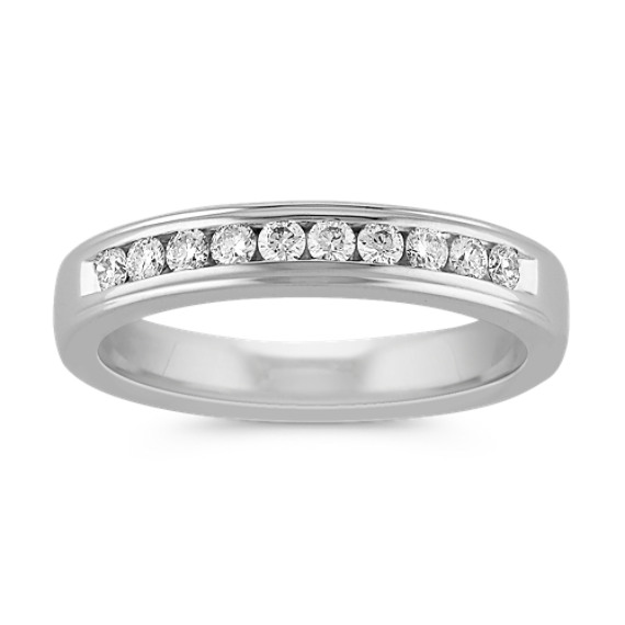 Round Diamond Wedding Band with Channel-Setting