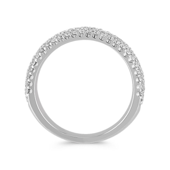 Round Diamond Wedding Band with Pave Setting image