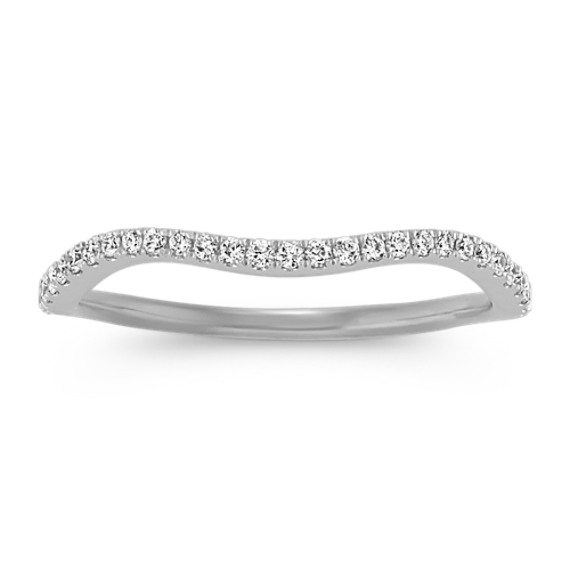 Round Diamond Wedding Band with Pave Setting