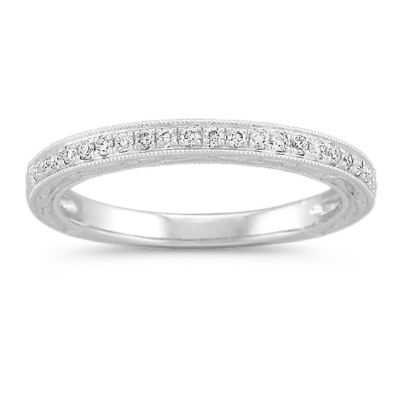 Round Diamond Wedding Band with Side Engraving and Milgrain Detailing