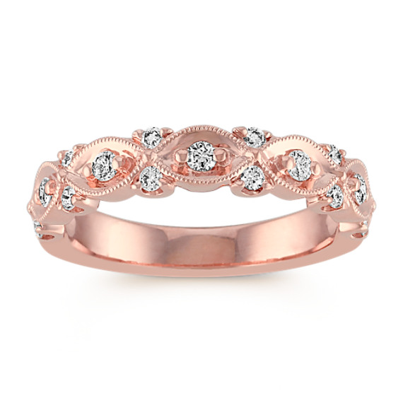Round Diamond and Milgrain Wedding Band in 14k Rose Gold