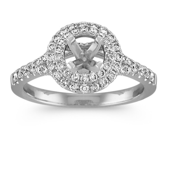 Round Double Halo Engagement Ring with Pave-Set Diamonds