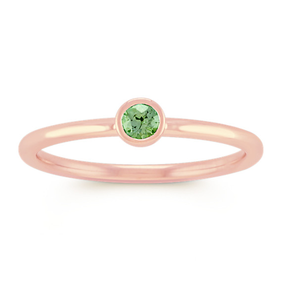 Green Sapphire Stackable Ring in 14k Rose Gold