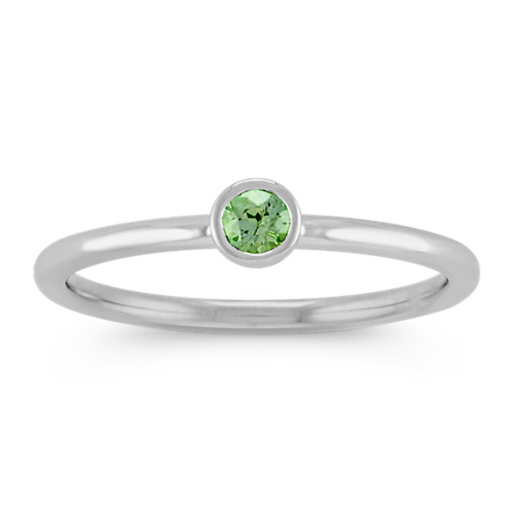 Round Green Sapphire Stackable Ring in 14k White Gold