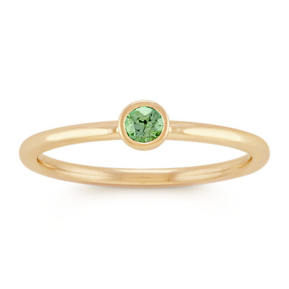 Round Green Sapphire Stackable Ring in 14k Yellow Gold