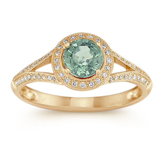 Round Green Sapphire and Diamond Ring in 14k Yellow Gold