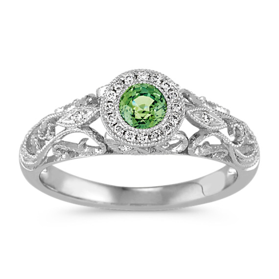 Round Green Sapphire and Diamond Vingate Ring in 14k White Gold