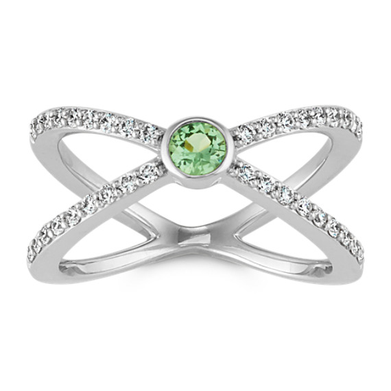 Round Green Sapphire and Round Diamond Crossover 14k White Gold Ring