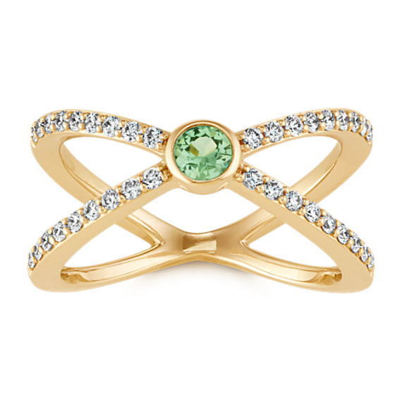 Round Green Sapphire and Round Diamond Crossover 14k Yellow Gold Ring