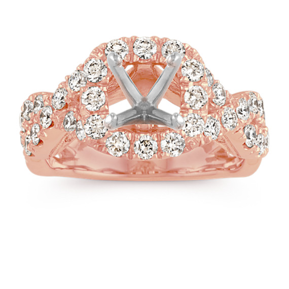 Round Halo Diamond Infinity Engagement Ring in 14k Rose Gold