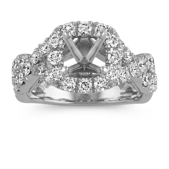 Round Halo Diamond Infinity Engagement Ring