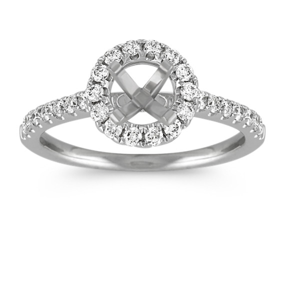 Round Halo Engagement Ring with Round Pave-Set Diamonds
