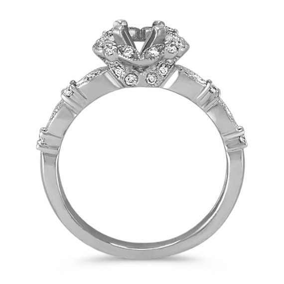 Round Halo Vintage Diamond Engagement Ring image
