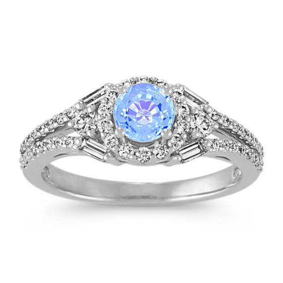 Round Ice Blue Sapphire, Baguette and Round Diamond Ring