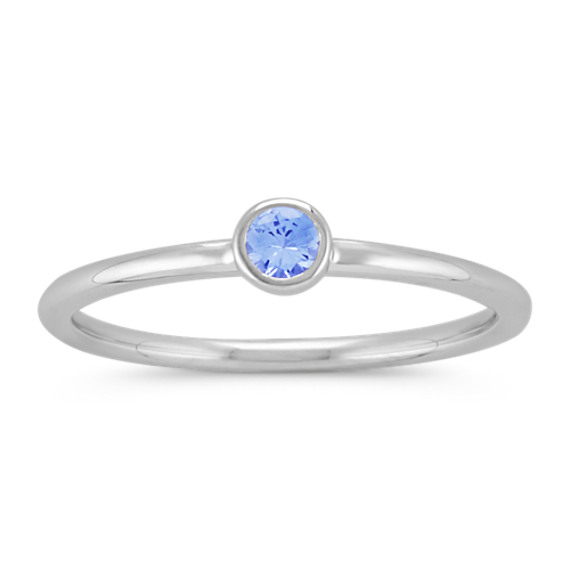 Round Ice Blue Sapphire Stackable Ring in 14k White Gold