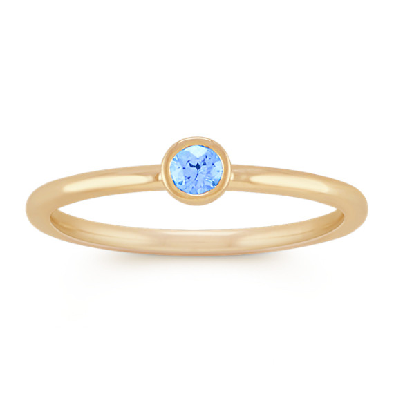 Round Ice Blue Sapphire Stackable Ring in 14k Yellow Gold