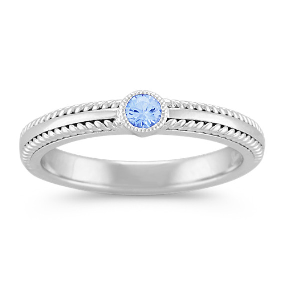 Round Ice Blue Sapphire Sterling Silver Stackable Ring