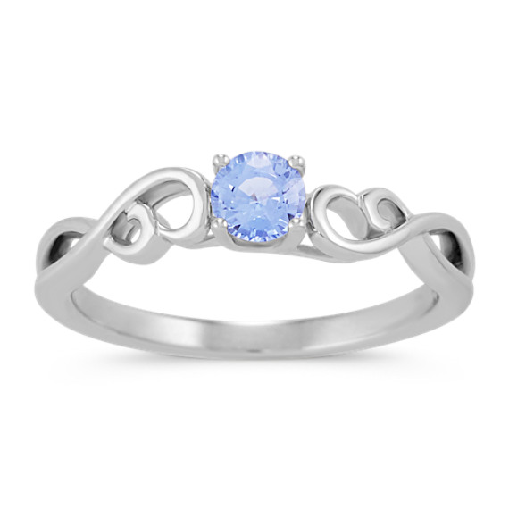 Round Ice Blue Sapphire Swirl Ring in Sterling Silver