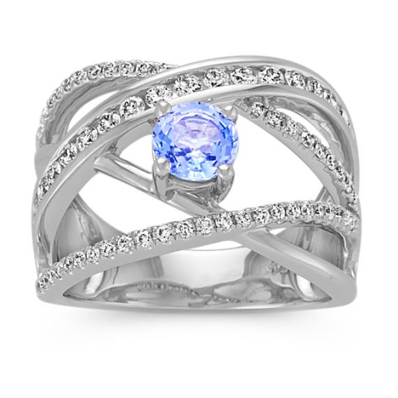 Round Ice Blue Sapphire and Round Diamond Crossover Ring