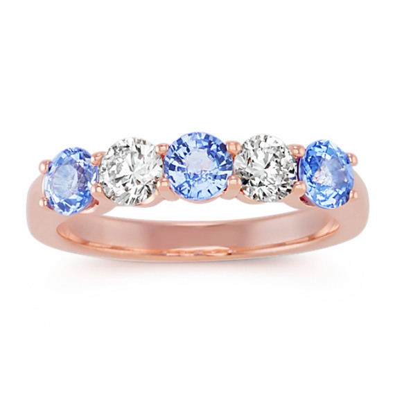 Round Ice Blue Sapphire and Round Diamond Ring in 14k Rose Gold