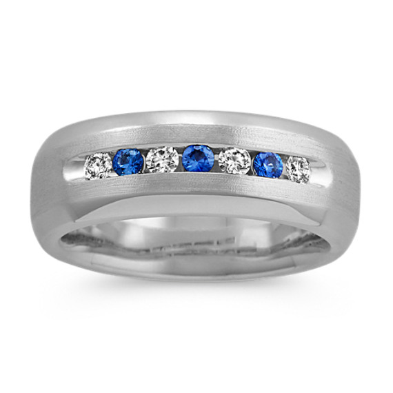 Round Kentucky Blue Sapphire and Diamond Ring in 14k White Gold (8 mm)