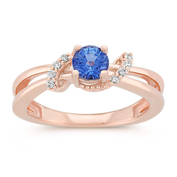 Round Kentucky Blue Sapphire and Diamond Ring in Rose Gold Shane Co