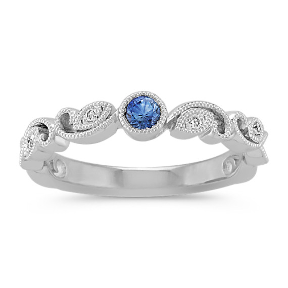 Round Kentucky Blue Sapphire and Round Diamond Stackable Ring