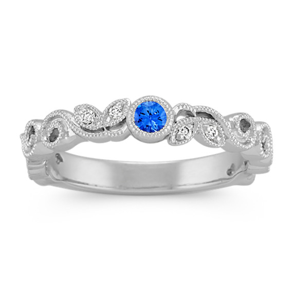 Round Kentucky Blue Sapphire and Round Diamond Vintage Stackable Ring