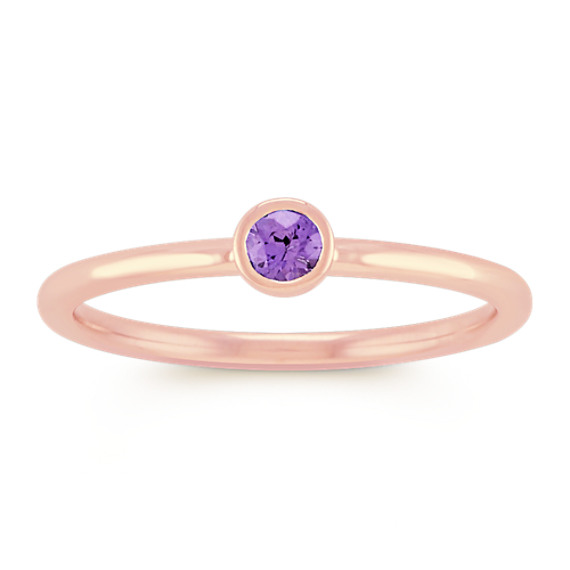 Round Lavender Sapphire Stackable Ring in 14k Rose Gold